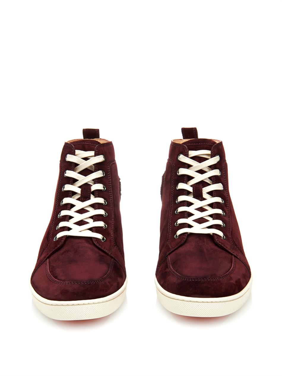 70ae34a3e5443 Lyst - Christian Louboutin Rantinos High-top Suede Trainers in Purple for  Men
