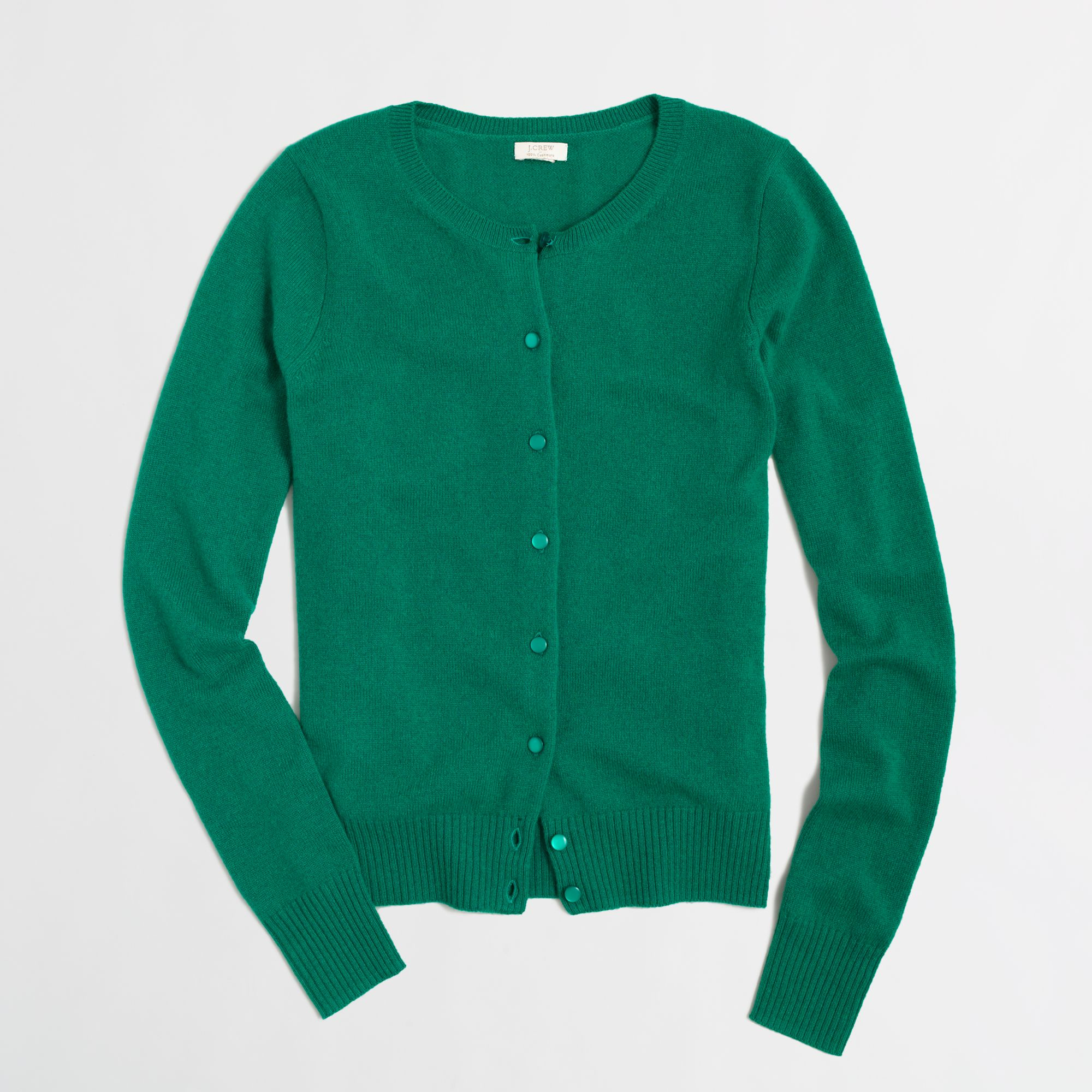 J.crew Factory Cashmere Cardigan in Green | Lyst