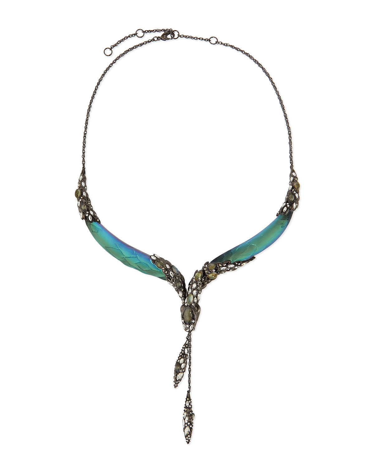 bittar lucite snake collar necklace in blue