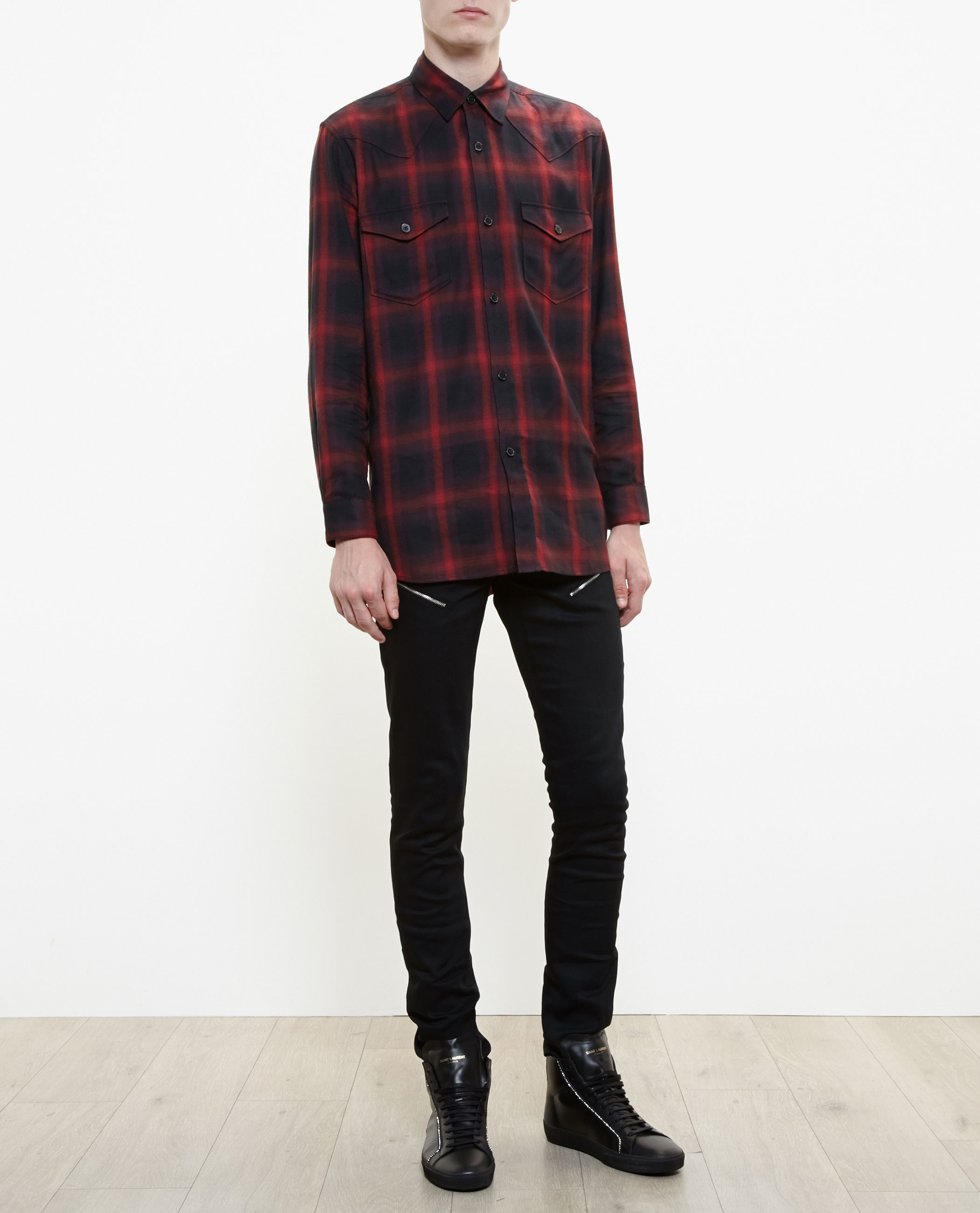 Saint laurent checked western shirt in black for men lyst for Saint laurent check shirt