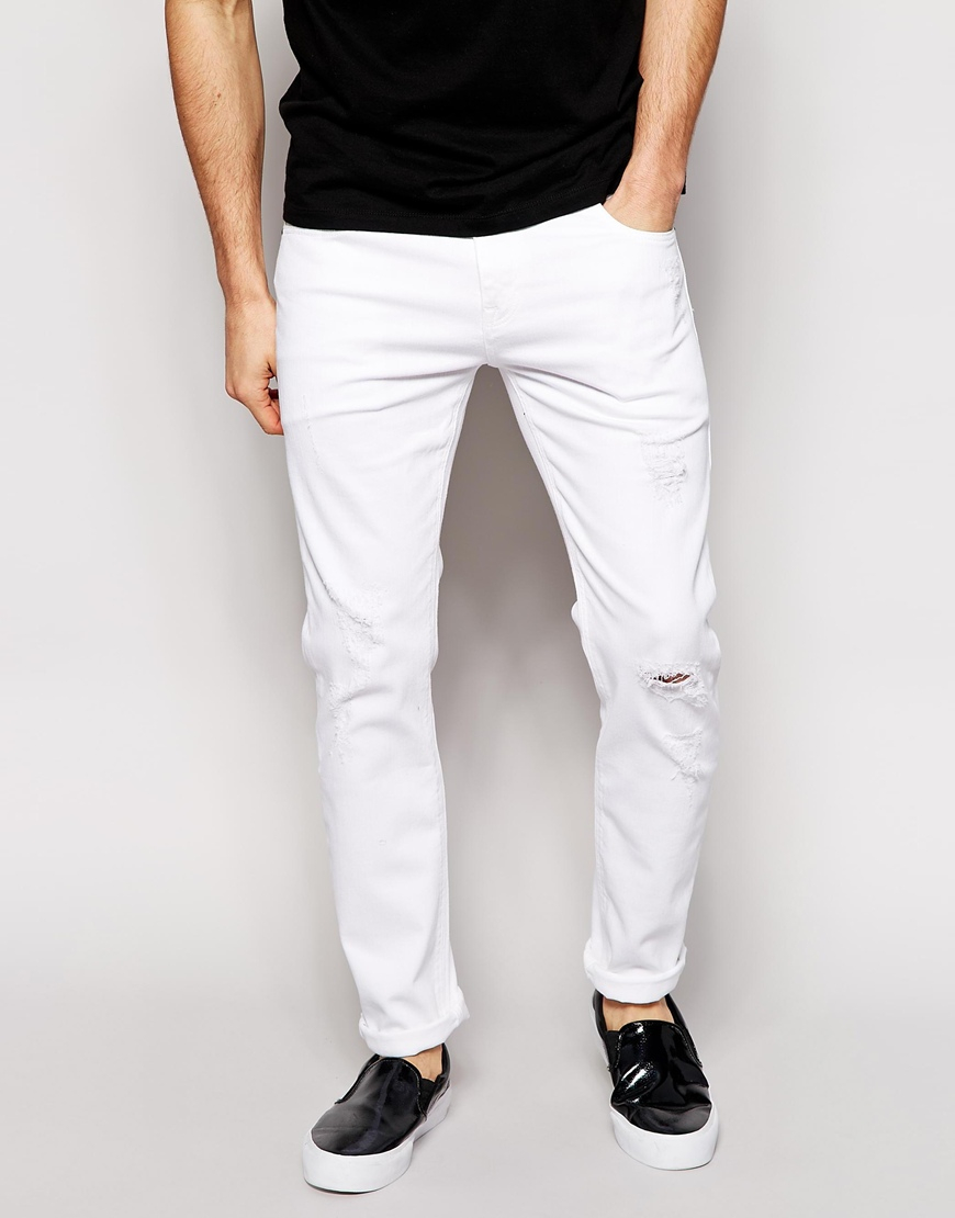 asos stretch slim jeans with rips in white for men lyst. Black Bedroom Furniture Sets. Home Design Ideas