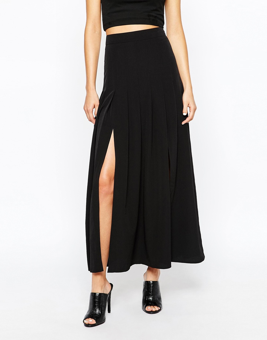 selected neba pleated maxi skirt in black lyst