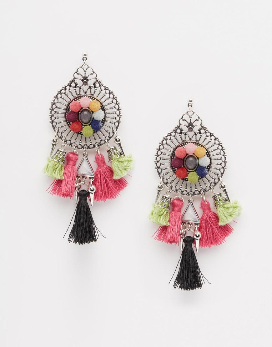 Lyst - Asos Pom Pom Party Earrings