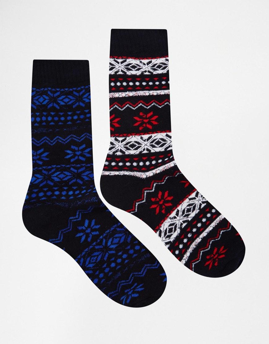 Jack & jones Holidays Boot Socks In Fairisle for Men | Lyst
