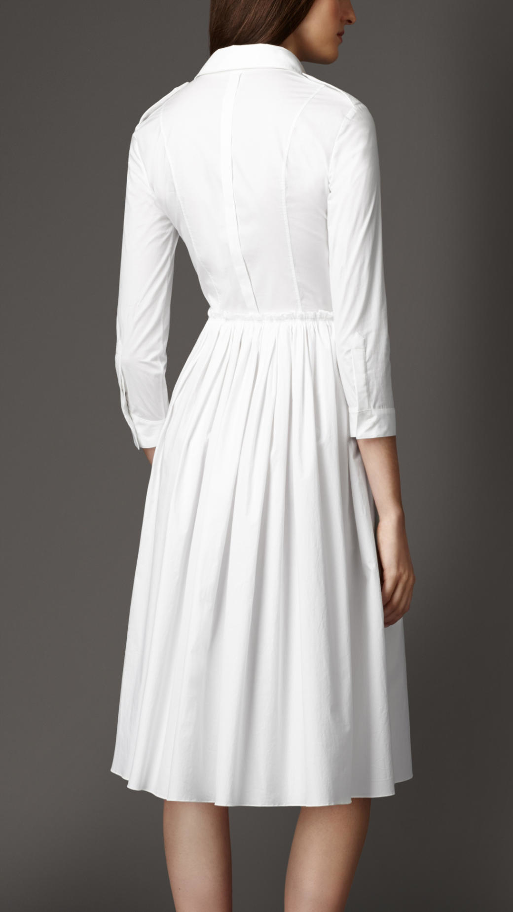 lyst burberry skirted stretch cotton shirt dress in white