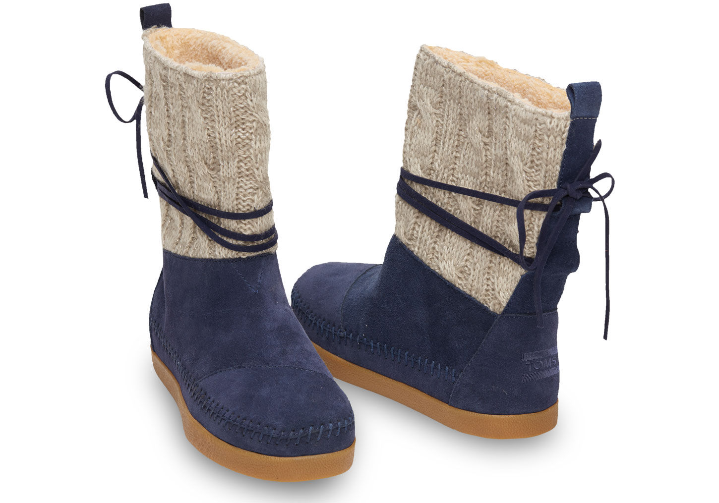 558eecfb9ab TOMS Blue Navy Cable Knit Suede Women's Nepal Boots