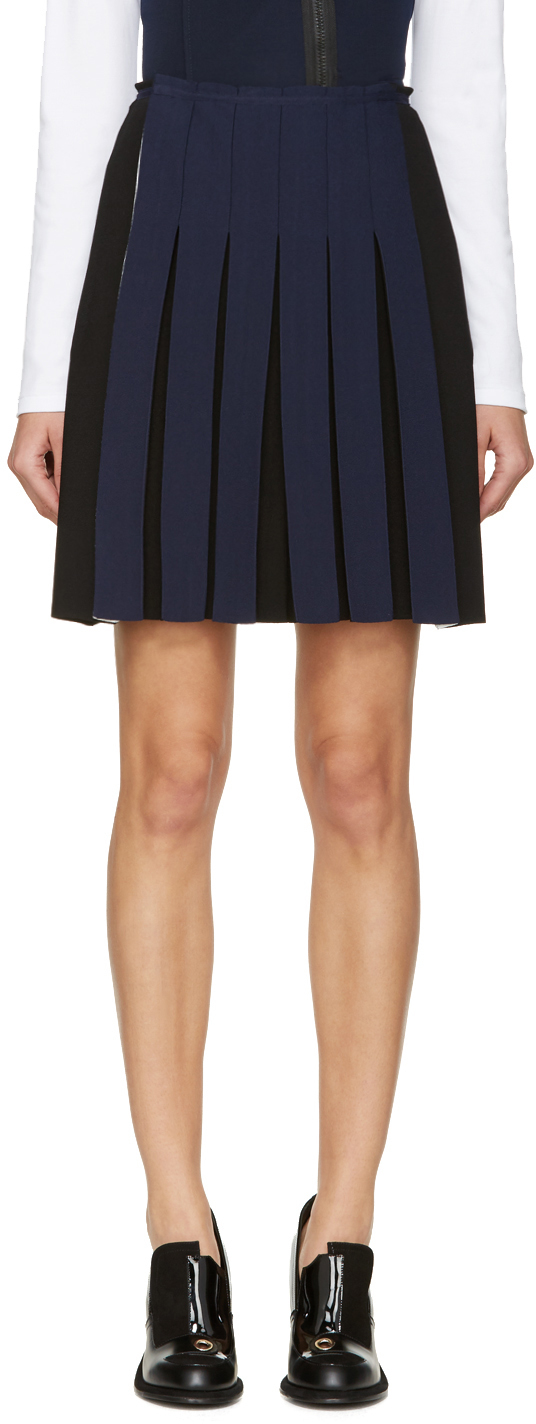 cedric charlier black and blue knit pleat skirt in blue lyst