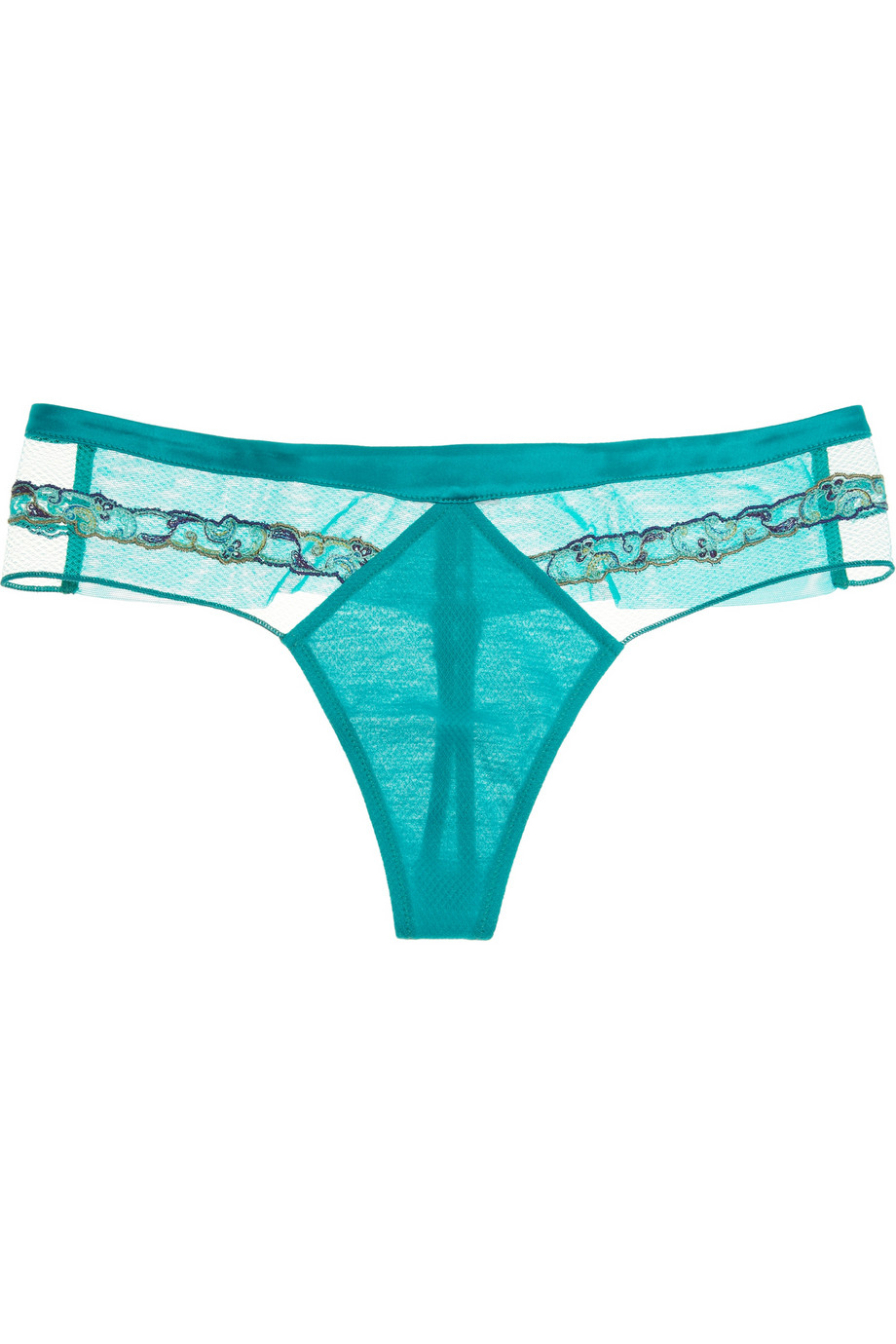 La Perla Paisley Embroidered Tulle And Silk Thong In Green