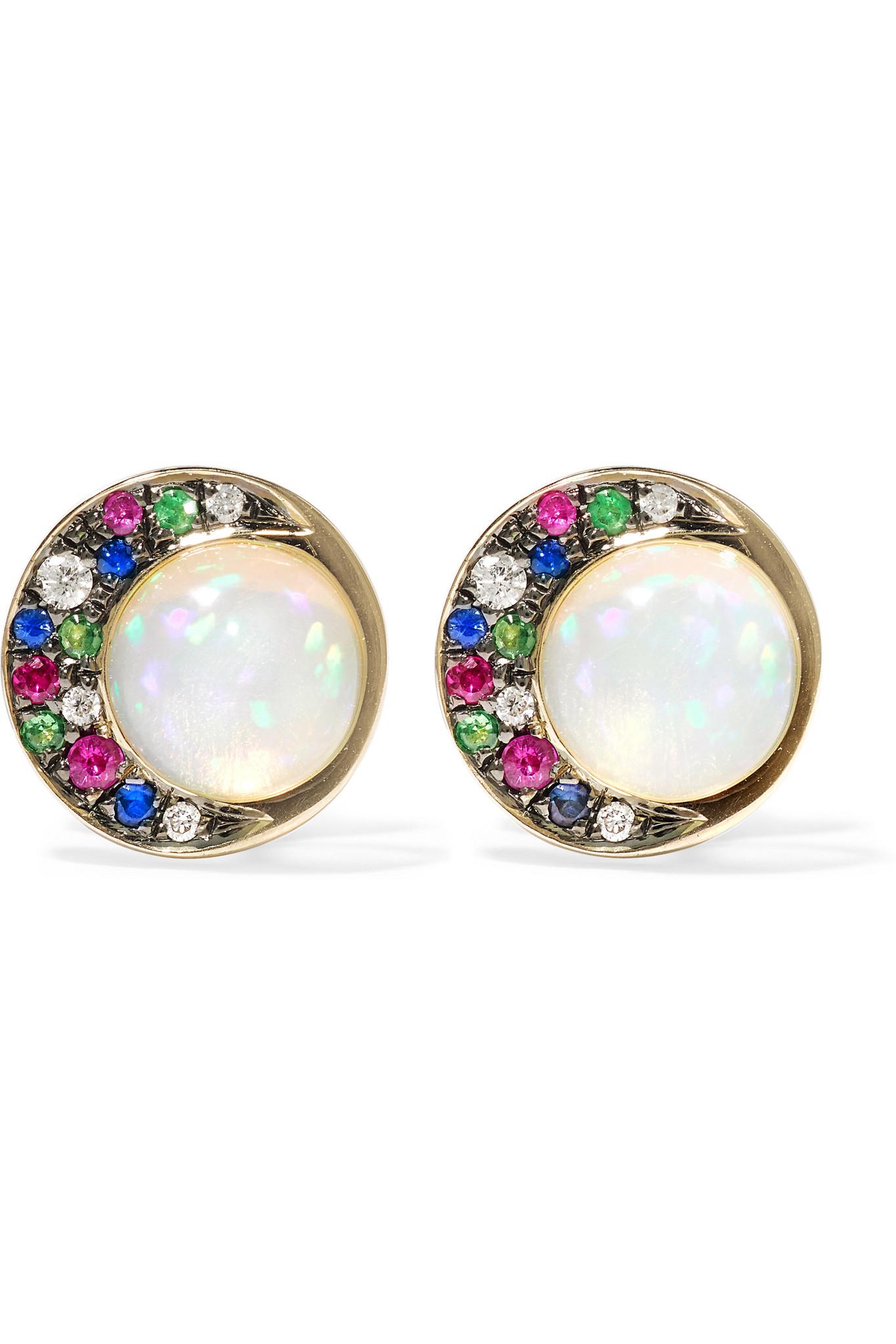 Noor Fares 18-karat Gray Gold Multi-stone Earrings QasYiL