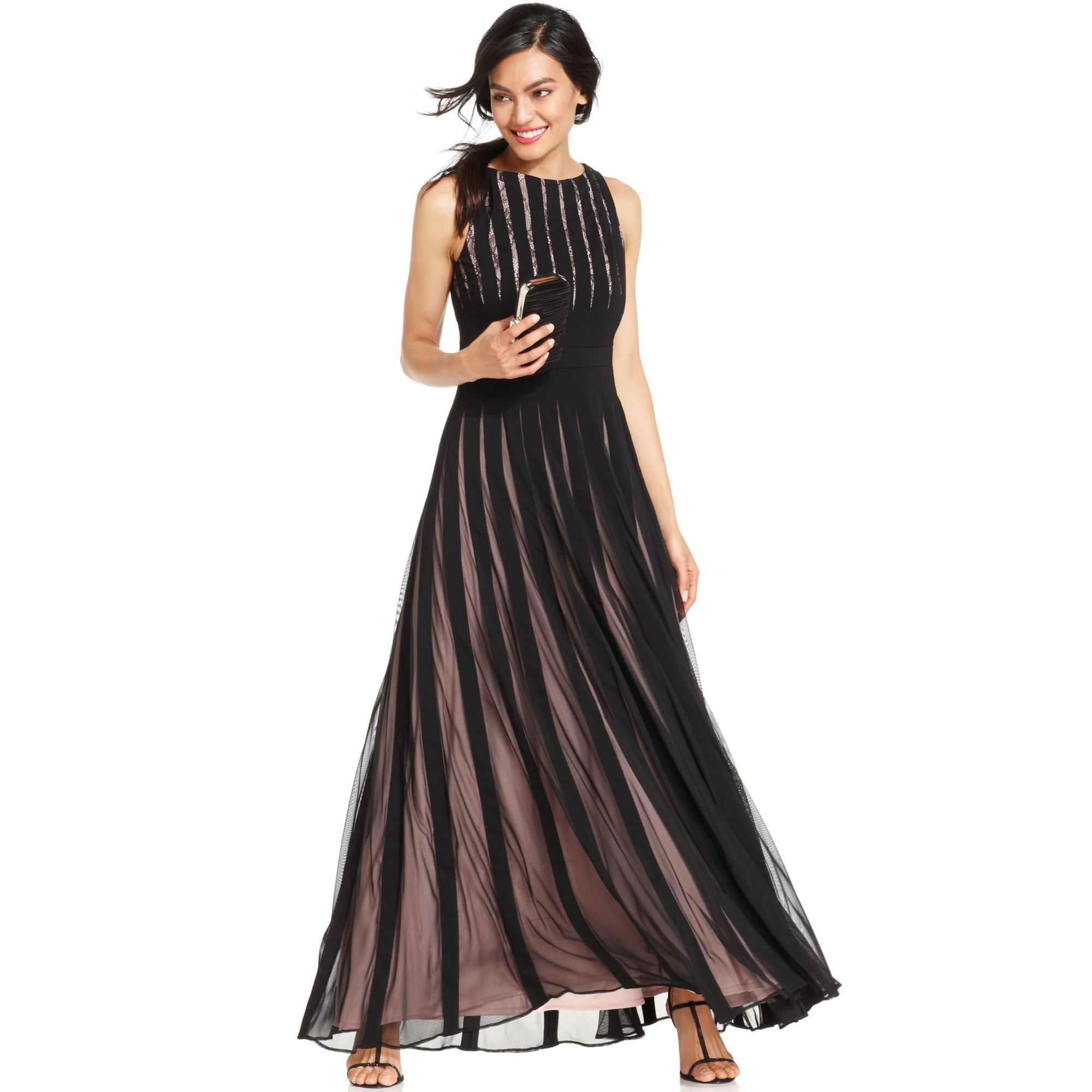 Lyst - Js Collections S Illusion Striped Lace Gown in Black