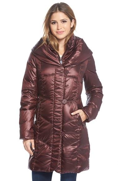 T Tahari Gia Grace Packable Down Pillow Collar Coat