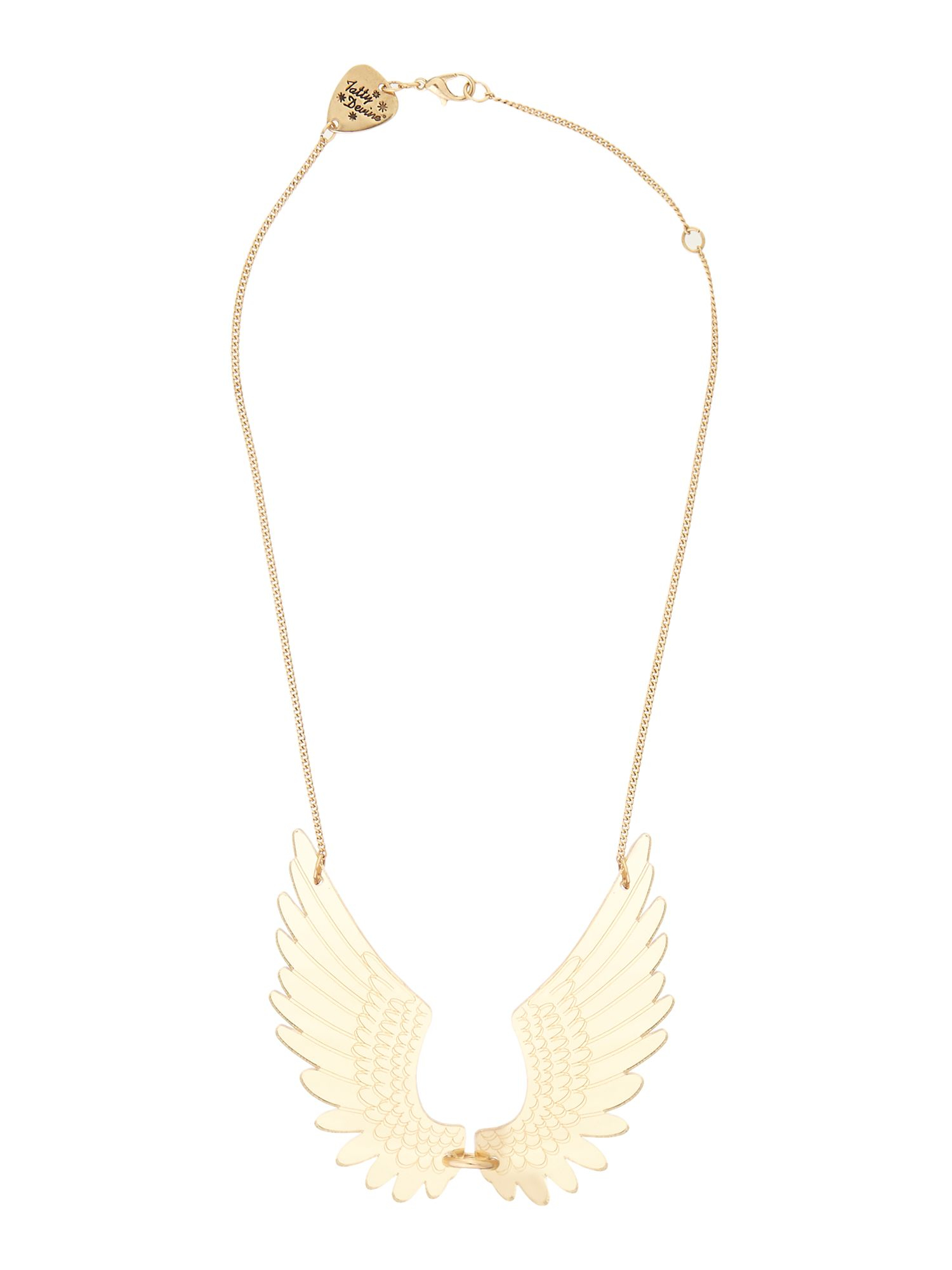 Tatty Devine Pegasus Large Gold Necklace in White