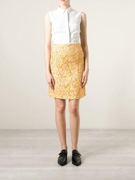 odeeh high waist jacquard skirt in yellow yellow orange