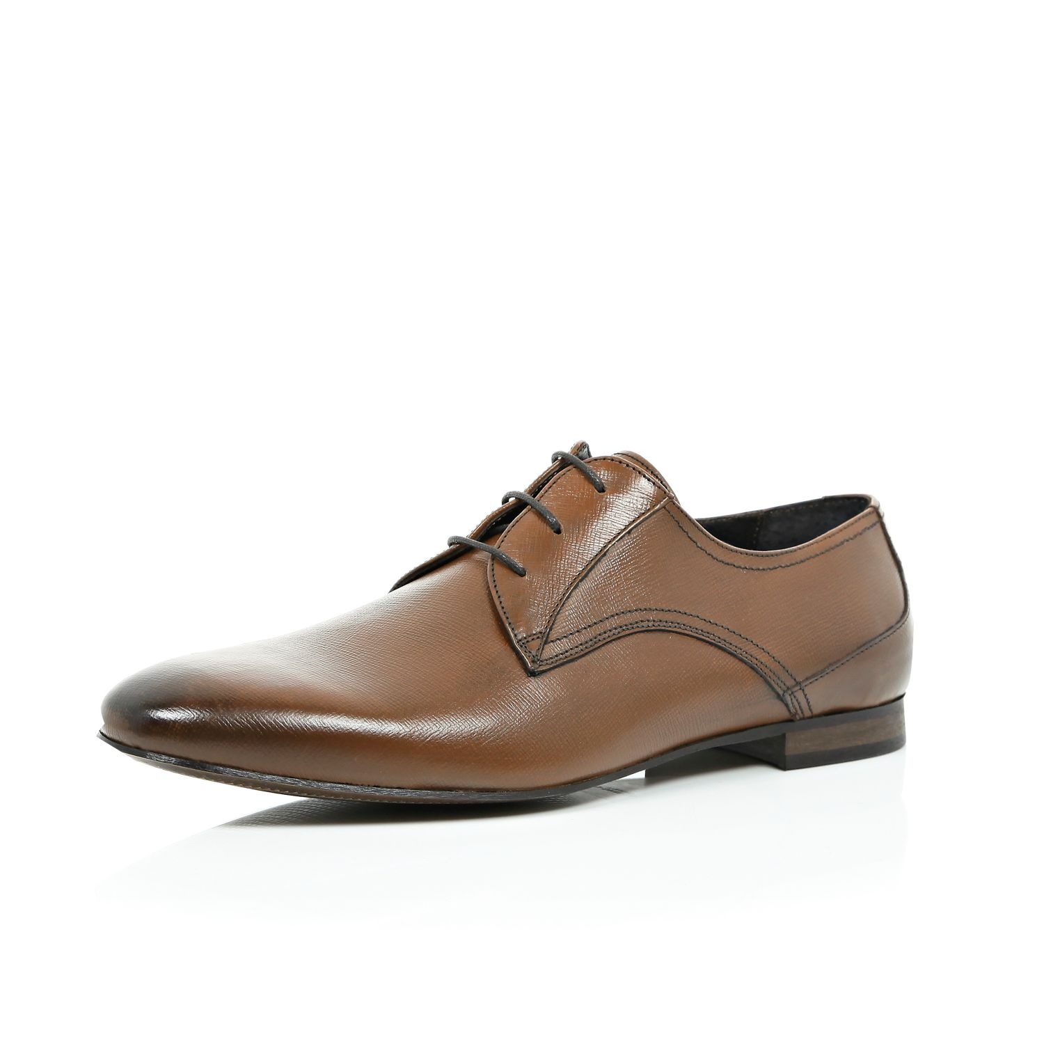 river island brown textured leather formal shoes in brown