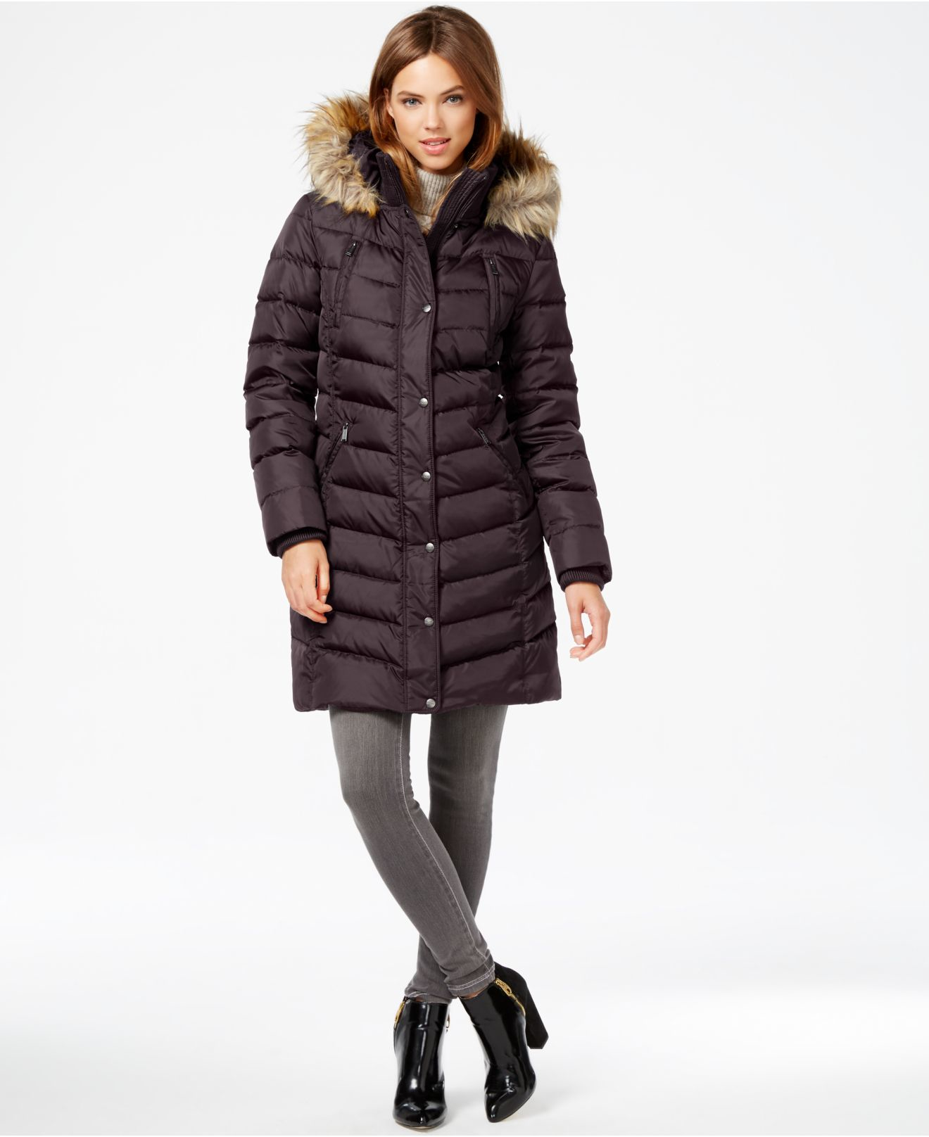 Hooded Puffer Coat With Faux Fur Trim In Gray Grey Silver ...