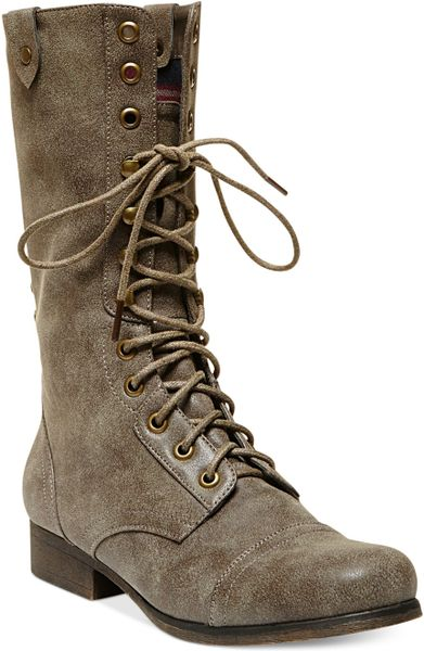 Madden Girl Galeriaa Lace Up Mid Shaft Combat Boots In