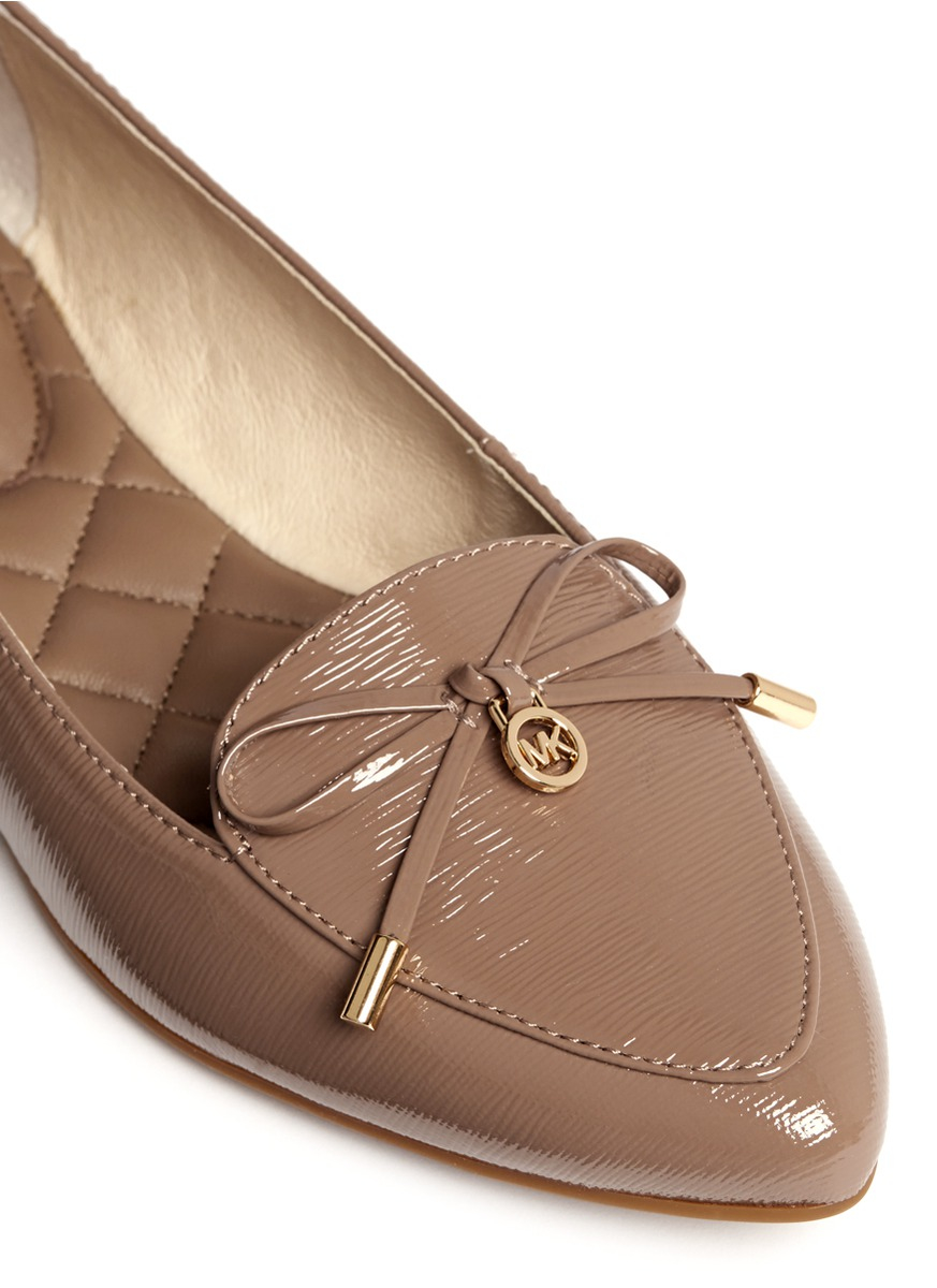 michael kors nancy bow patent leather ballet flats in brown lyst. Black Bedroom Furniture Sets. Home Design Ideas