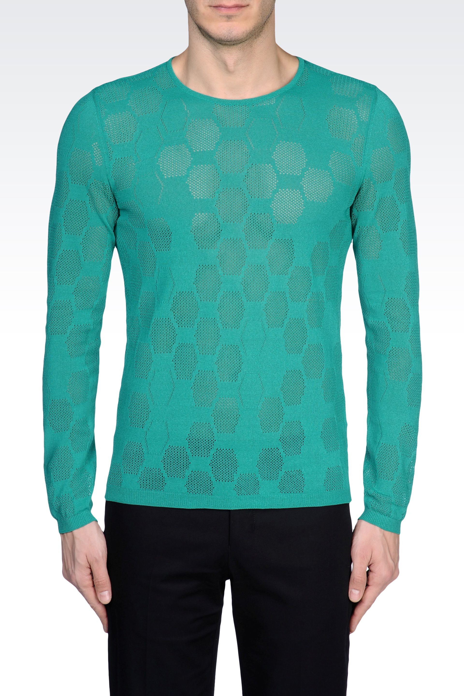 emporio armani cotton sateen sweater with hexagonal details in green for men lyst. Black Bedroom Furniture Sets. Home Design Ideas