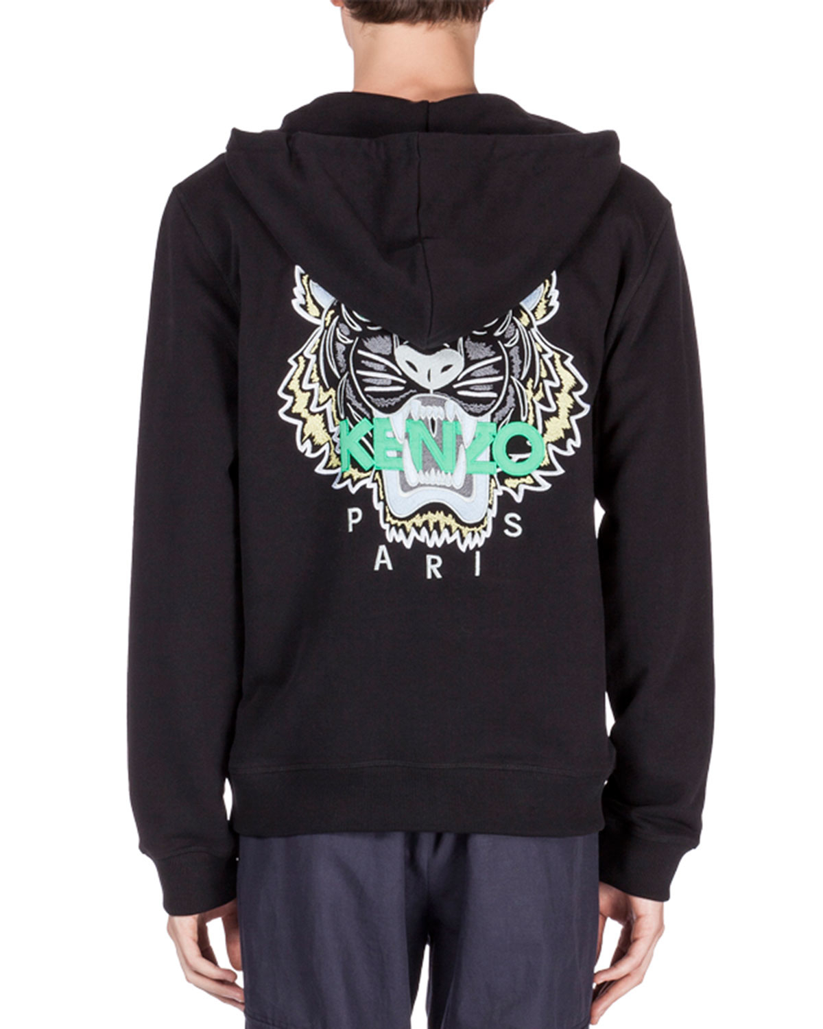 4622f58a KENZO Zip-up Hoodie With Embroidered Tiger Icon in Black for Men - Lyst