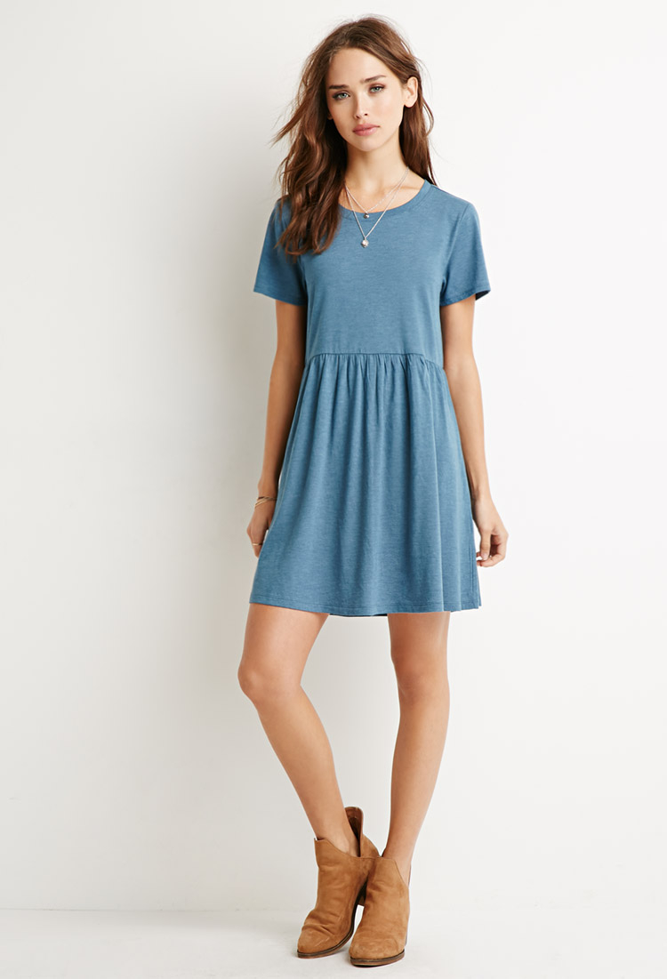 Lyst - Forever 21 Heathered Babydoll Dress in Blue