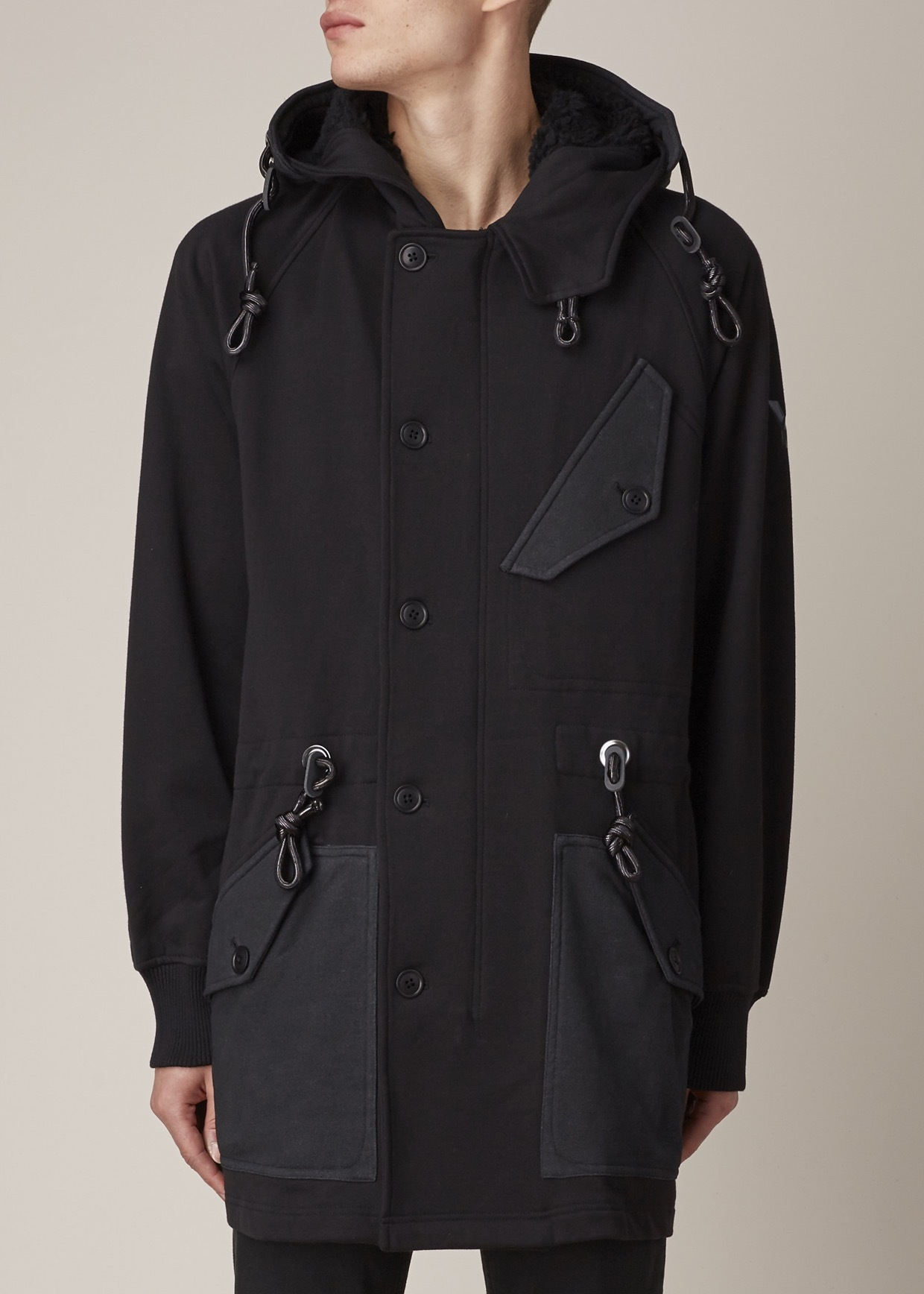 Y-3 Black Drawstring Parka in Black for Men | Lyst