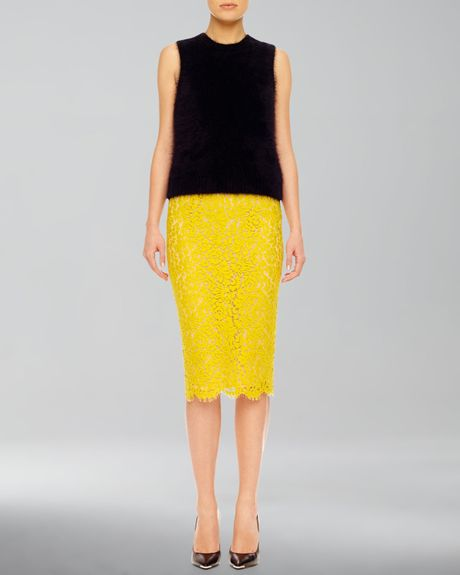 michael kors lace pencil skirt in yellow charteuse lyst