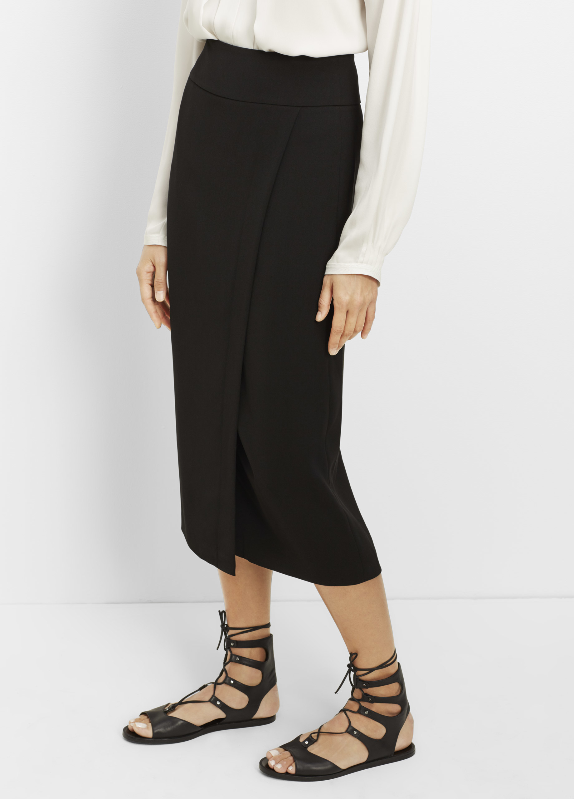 Vince Wrap Pencil Skirt in Black | Lyst