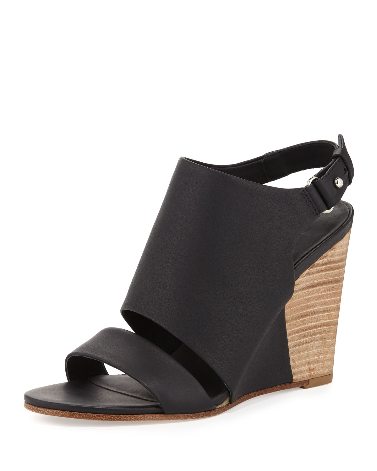 b45c2a7930 Vince Karen Leather Wedge Sandal in Black - Lyst