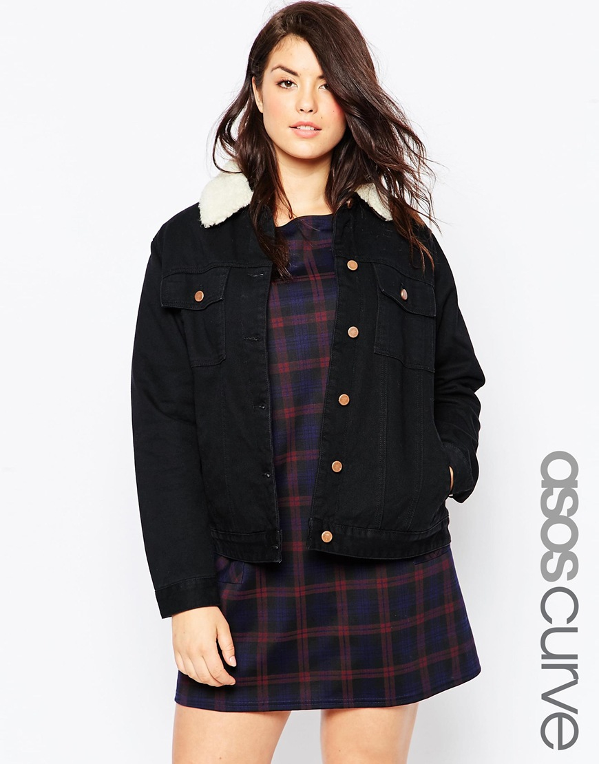 Asos Classic Borg Denim Jacket In Black in Black | Lyst