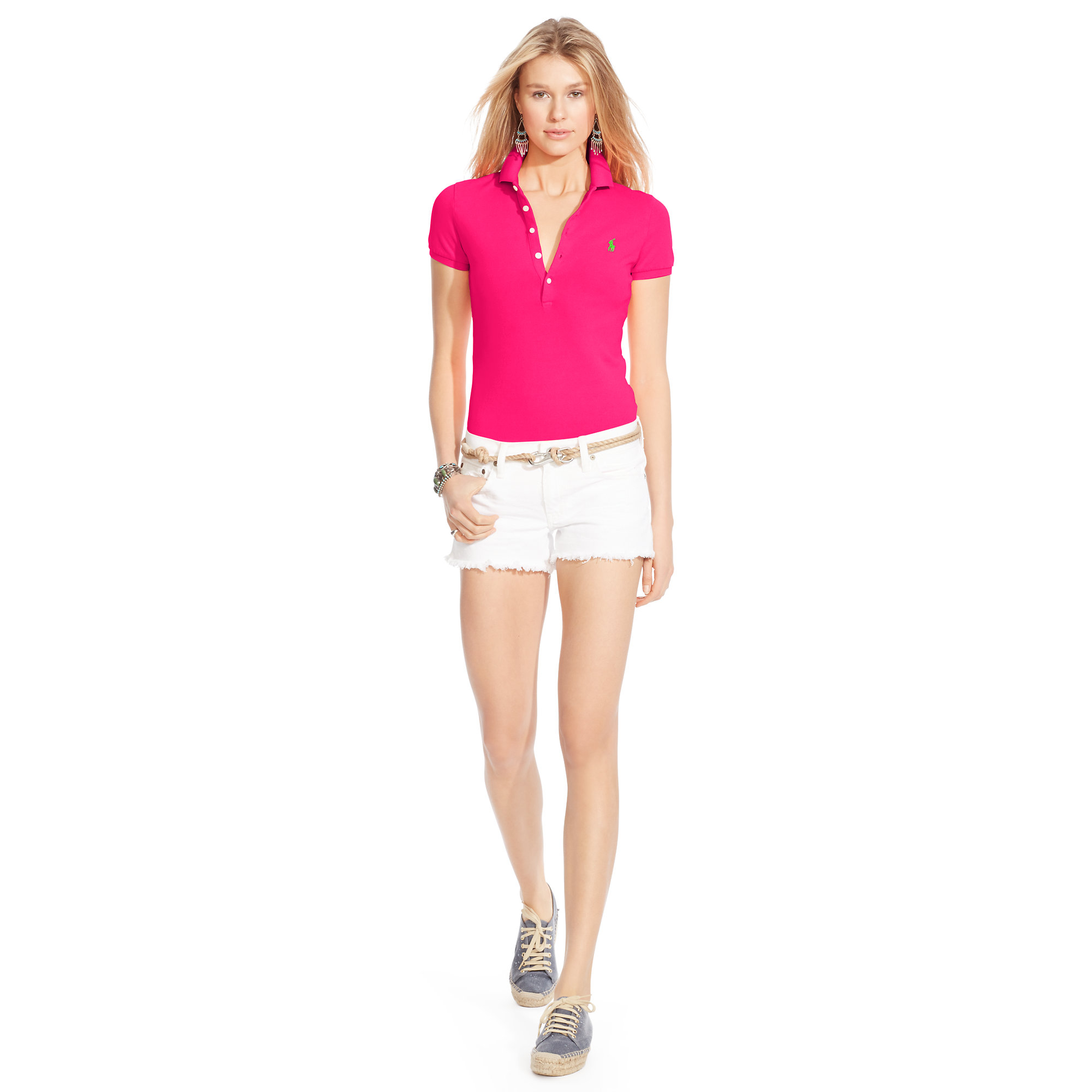 04ea6367d179 Lyst - Polo Ralph Lauren Skinny Stretch Polo Shirt in Pink