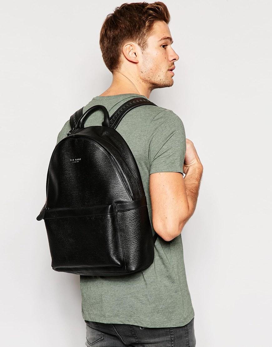 ca85993514e63 Lyst - Ted Baker Heyriko Leather Backpack in Black