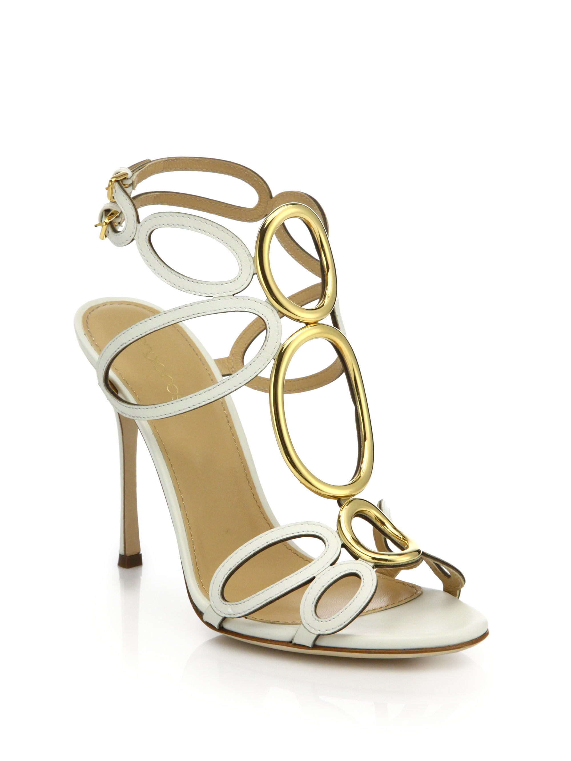 fast delivery cheap online Sergio Rossi Leather Cutout Sandals 2015 new cheap price original cheap sale visit S6ScW