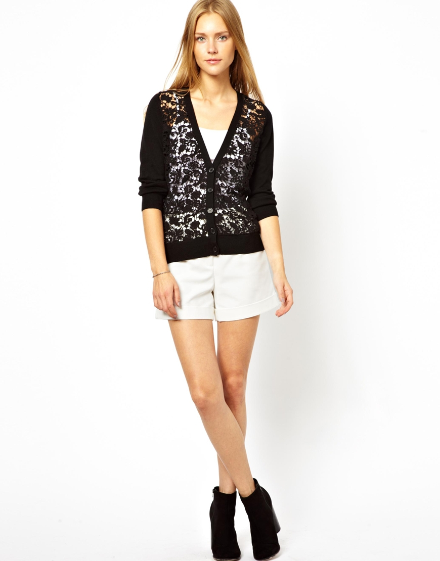 French connection Lace Panel Cardigan in Black | Lyst