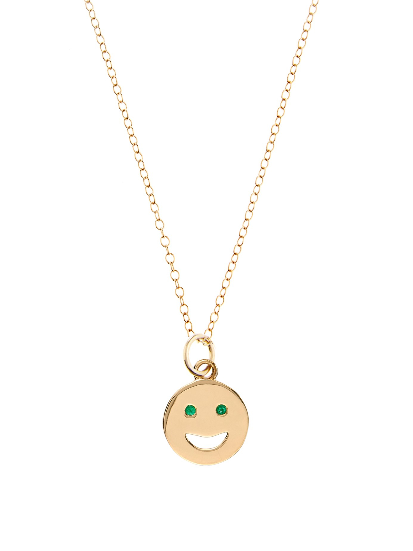 alison lou emerald yellow gold happy necklace in