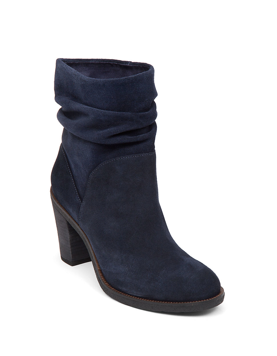 vince camuto parka suede slouch ankle boots in blue lyst