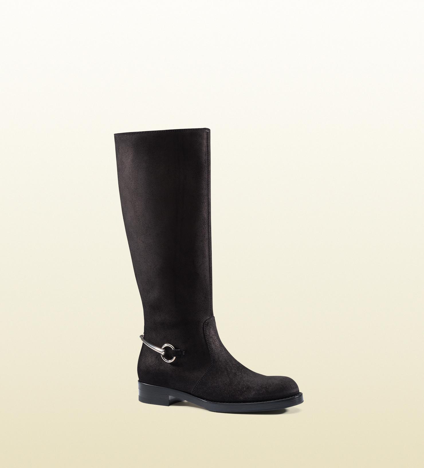 gucci suede horsebit knee boot in black lyst