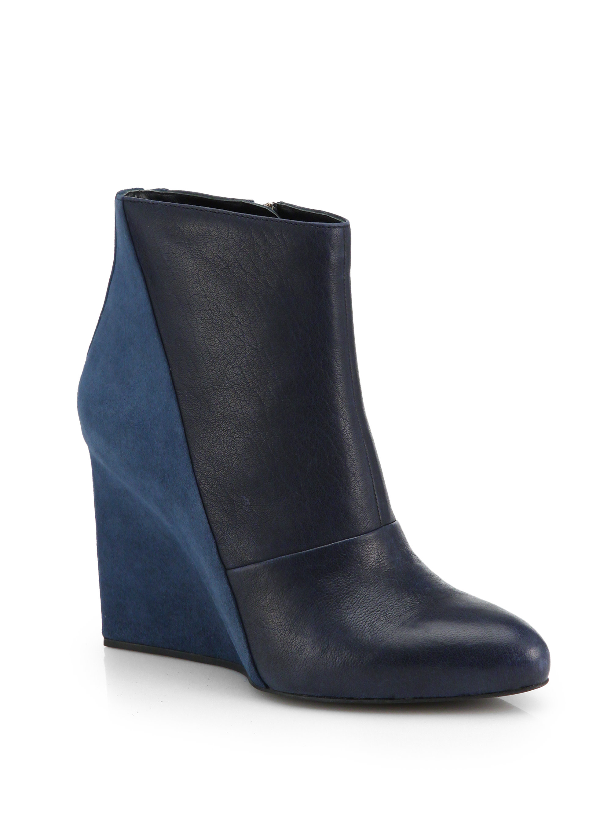 see by chlo 233 suede leather wedge ankle boots in blue lyst