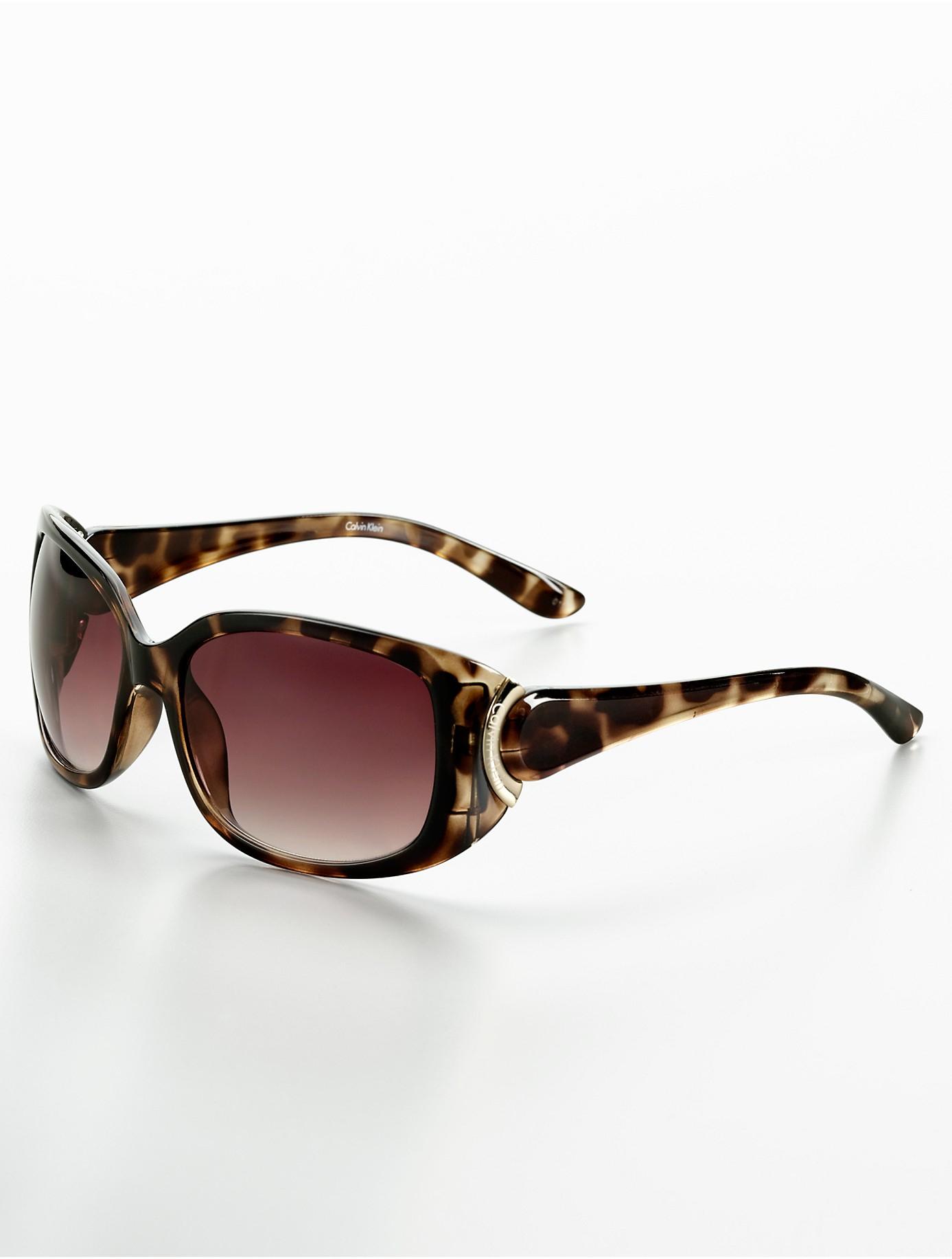 Lyst - Calvin Klein Medium Square Plastic Sunglasses in Brown