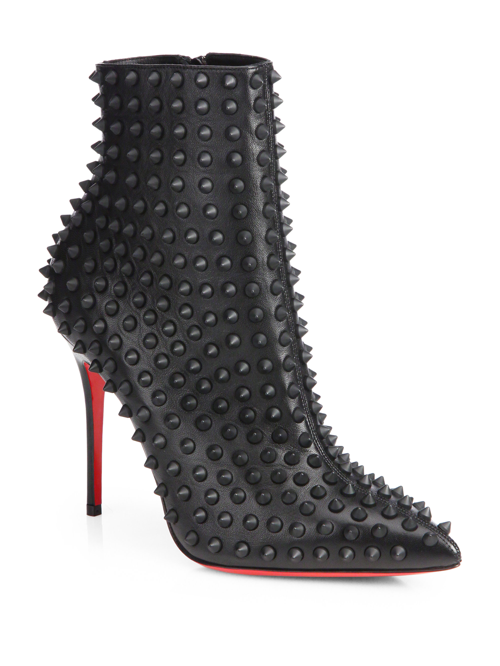 newest ec48f 45cb4 Christian Louboutin Black Snakilta Spiked Leather Ankle Boots