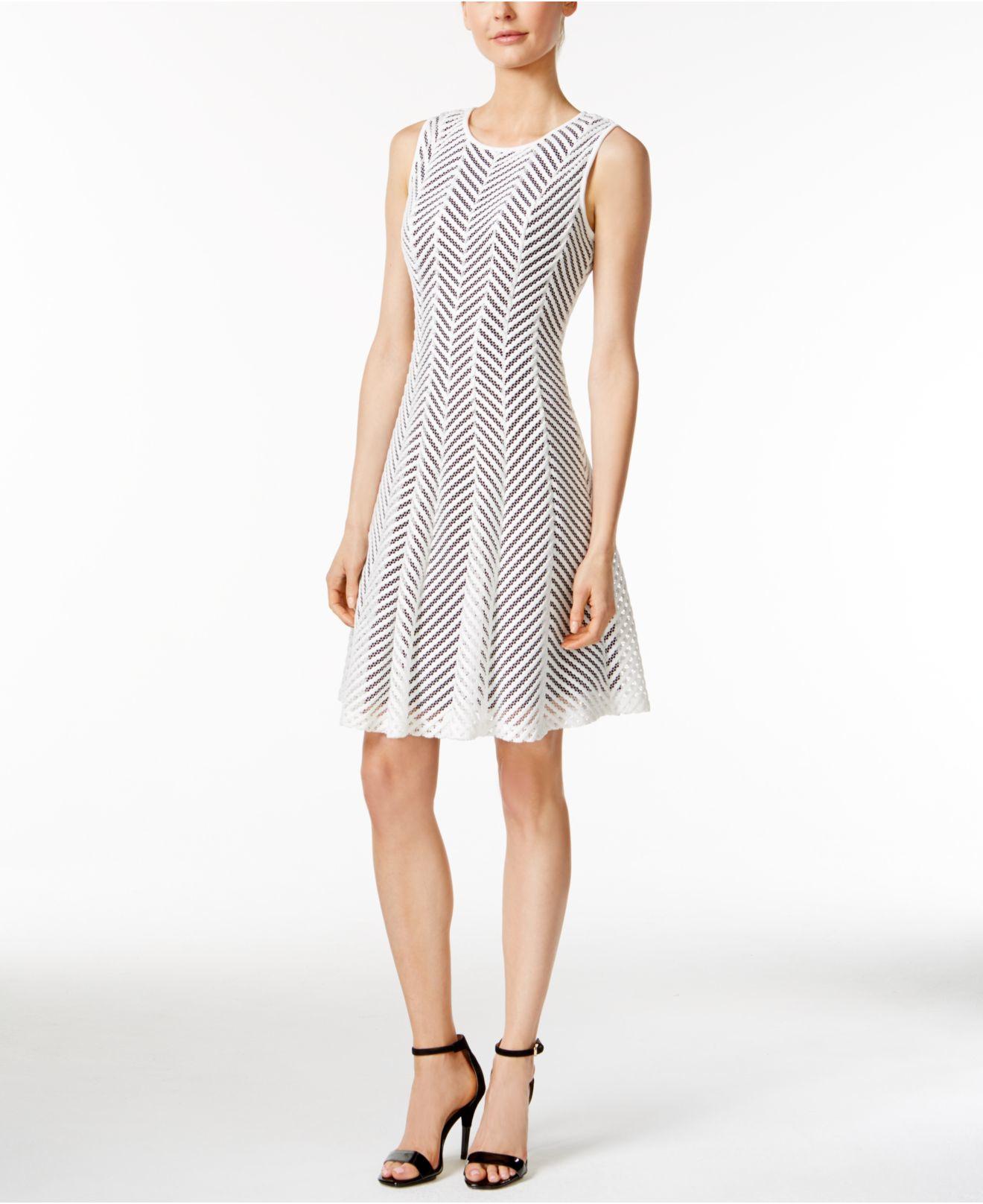 Calvin Klein Sleeveless Mesh Fit Amp Flare Dress In White Lyst
