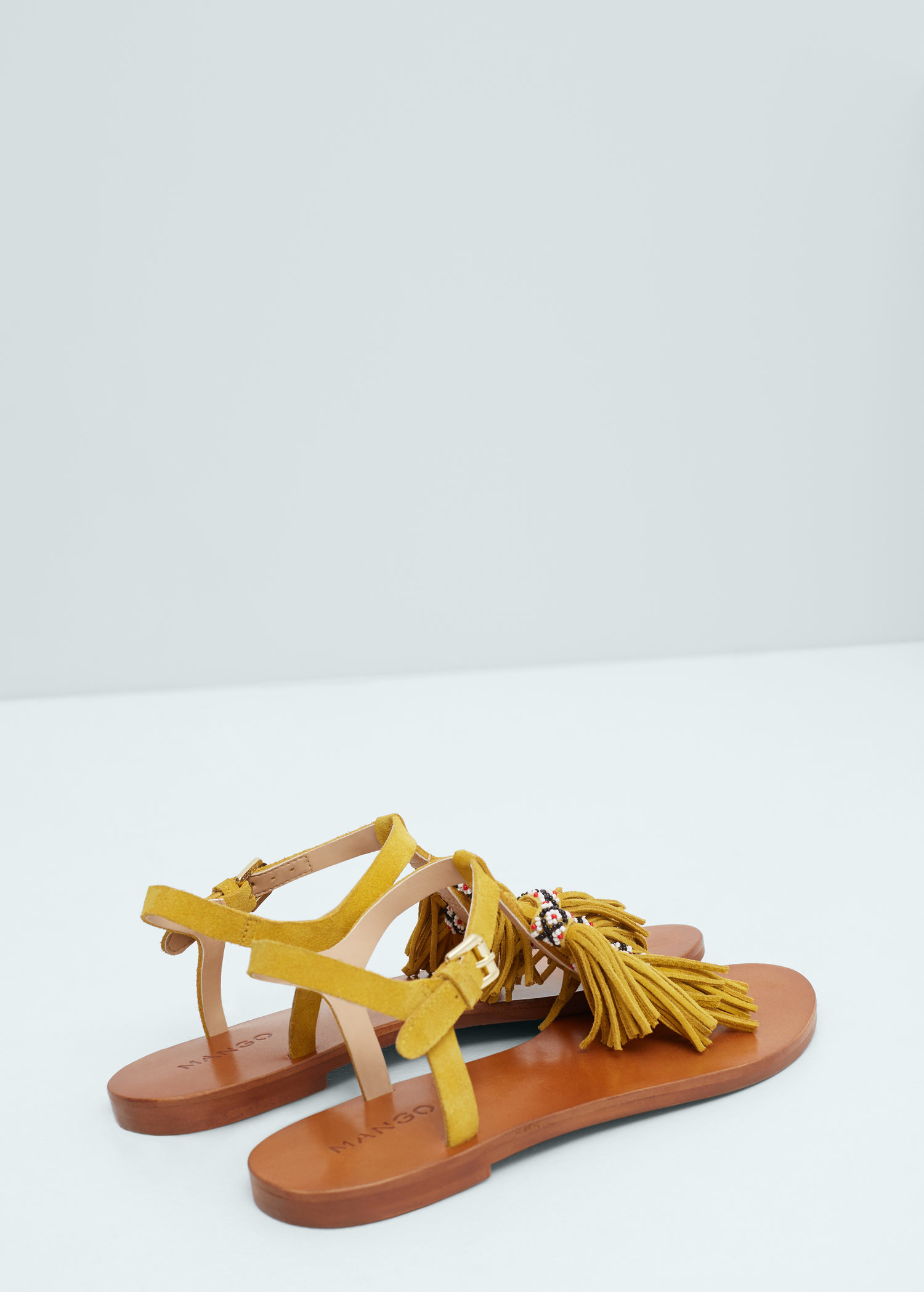Lyst Mango Fringe Leather Sandals In Yellow