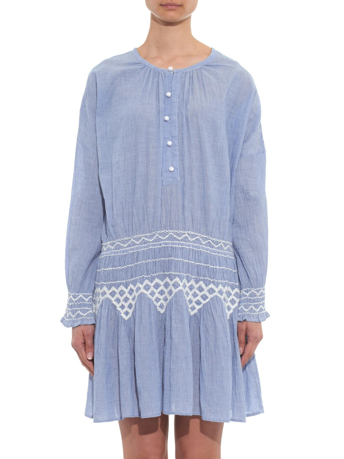 Lyst vanessa bruno ath connie cotton chambray dress in blue for Chambray dress