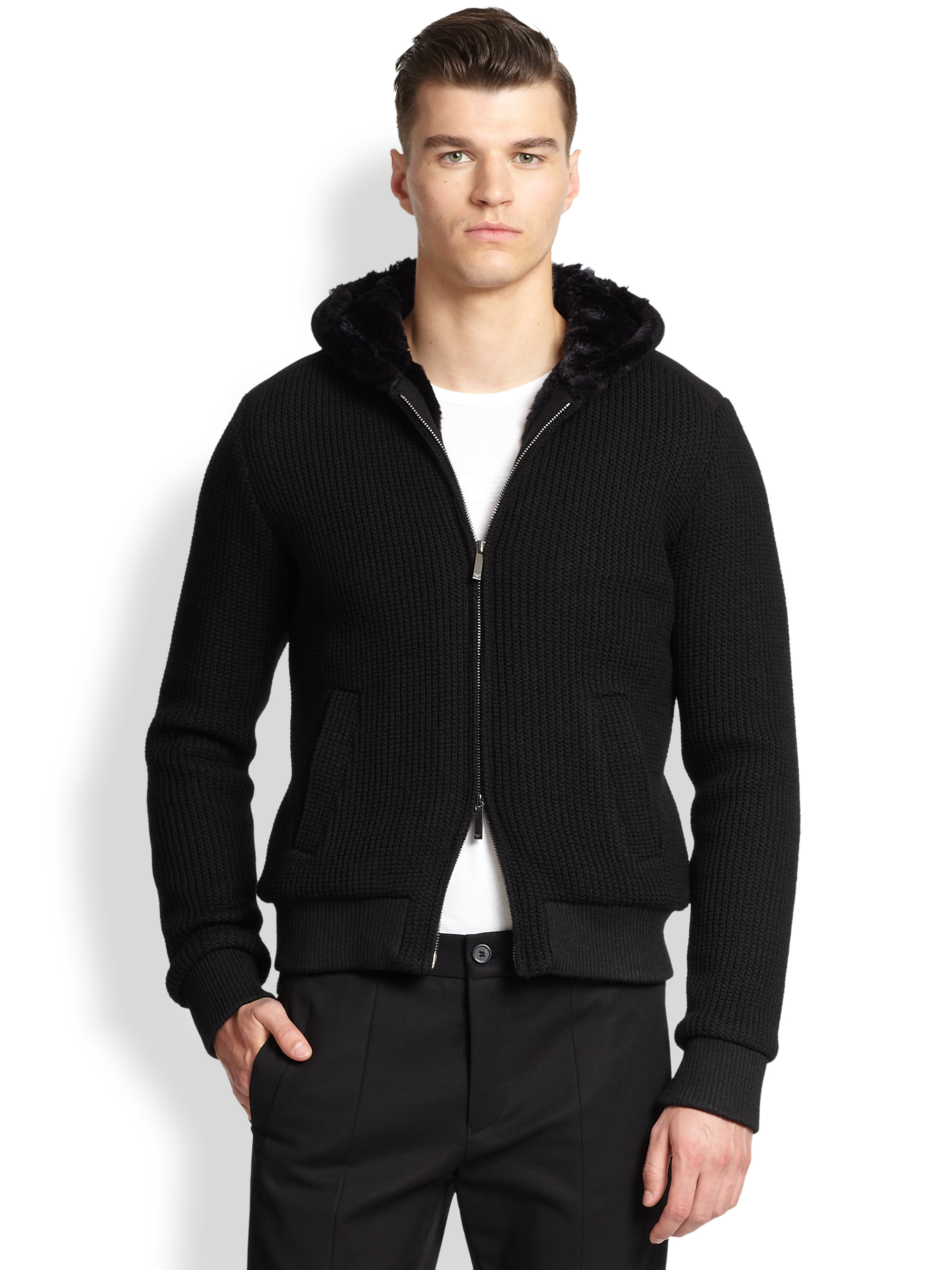 Emporio Armani Faux-Fur Lined Knit Hoodie In Black For Men -3482