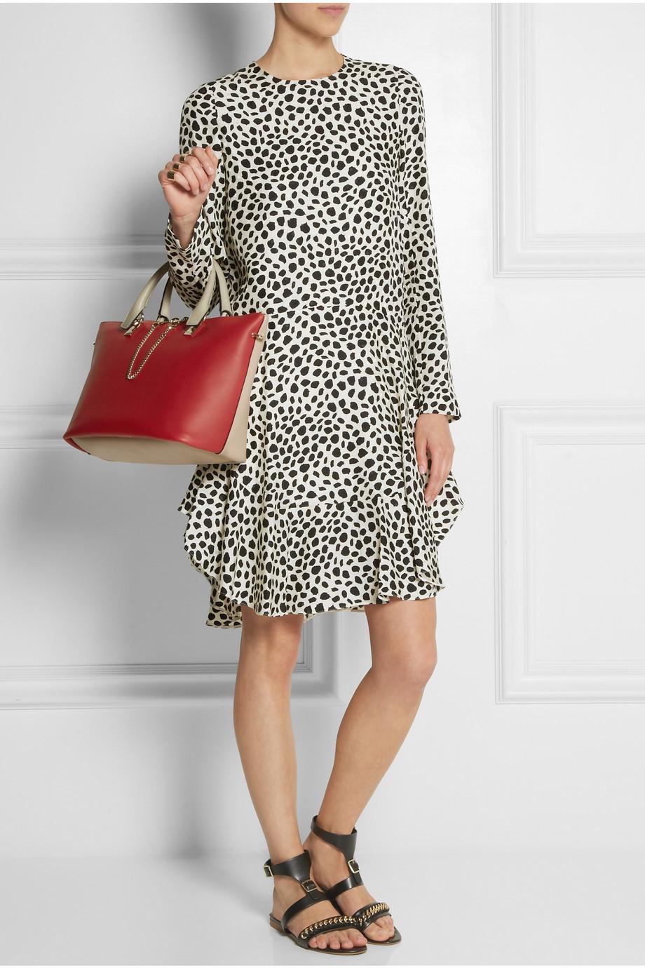 replica bags chloe - chloe bicolor baylee satchel leather medium, chloe marcie gray