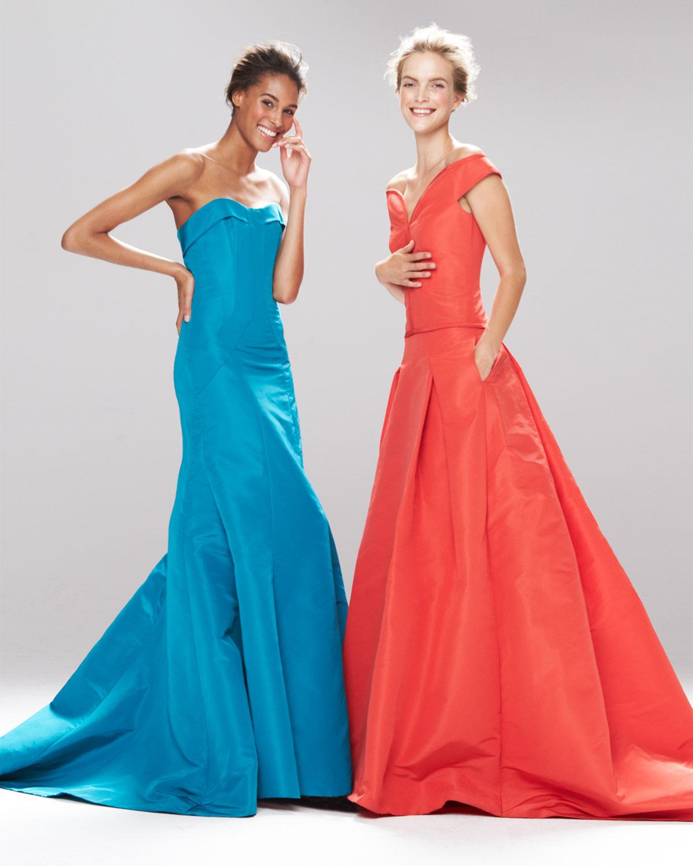 Lyst - Carolina Herrera Strapless Evening Gown in Blue