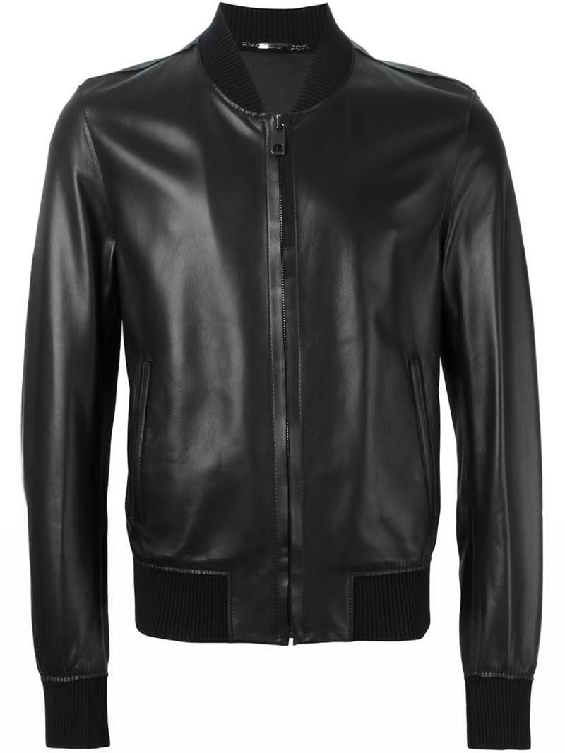 dolce gabbana leather bomber jacket in black for men lyst. Black Bedroom Furniture Sets. Home Design Ideas