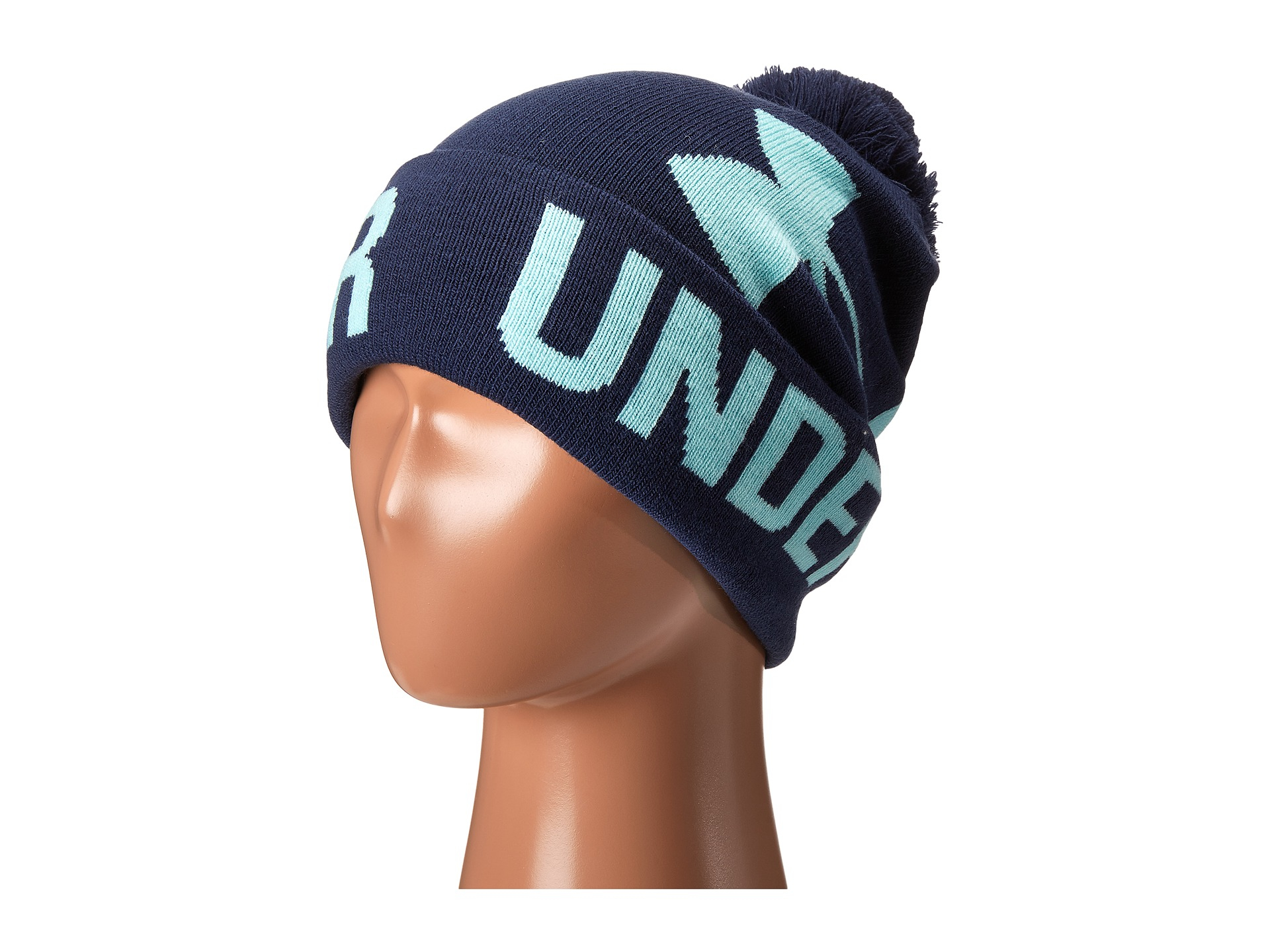 ... buying now 33fb2 b684a Lyst - Under Armour Ua Graphic Pom Pom Beanie in  Blue ... e9d1754e887d