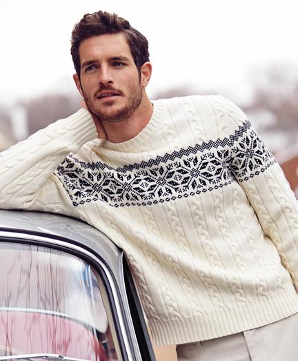 Brooks brothers Merino Wool Fair Isle Snowflake Crewneck Sweater ...