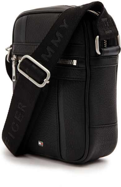 Tommy Hilfiger Ridley Black Leather Mini Reporter Bag In