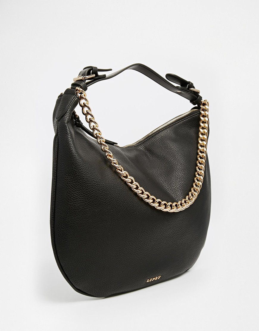Lipsy Black Slouch Hobo Bag With Chain in Black | Lyst